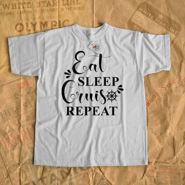 Eat, sleep, cruise, repeat - cruise tee shirt-T-shirt new-Printify-cruise-sea-ocean-nautical-tee-shirt-tshirt-Titanic shop