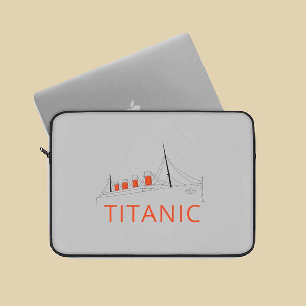 Grey laptop sleeve Titanic, gift for girl history buff. Laptop sleeve with personalization, custom geek laptop sleeve-Laptop Sleeve-Printify-titanic-school-tote-bag-backpack-duffel-drawstring-white-star-line-Titanic shop