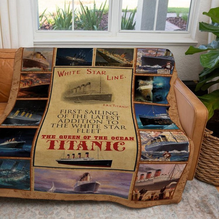 Titanic blanket reusable fleece blanket - personalized boy blanket, vintage camping blanket gift for boy 6-8 years old