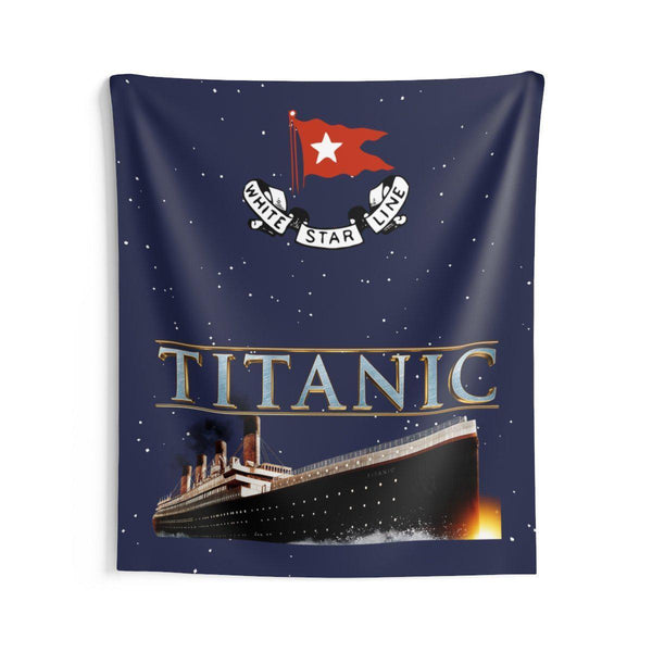 Indoor Wall Tapestries Titanic wall art, wall decor for boys room, tapestry wall hanging, boy room decor-Wall art wallaper-Printify-titanic-big-ship-cruise-boy-gift-Titanic shop