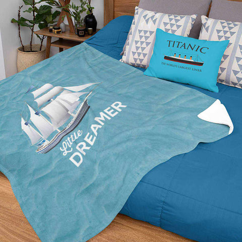 Little dreamer blue blanket, fleece blanket for baby boy, personalized blanket, name baby blanket-Blankets-Printify-titanic-blanket-comforter-duvet-cover-Titanic shop