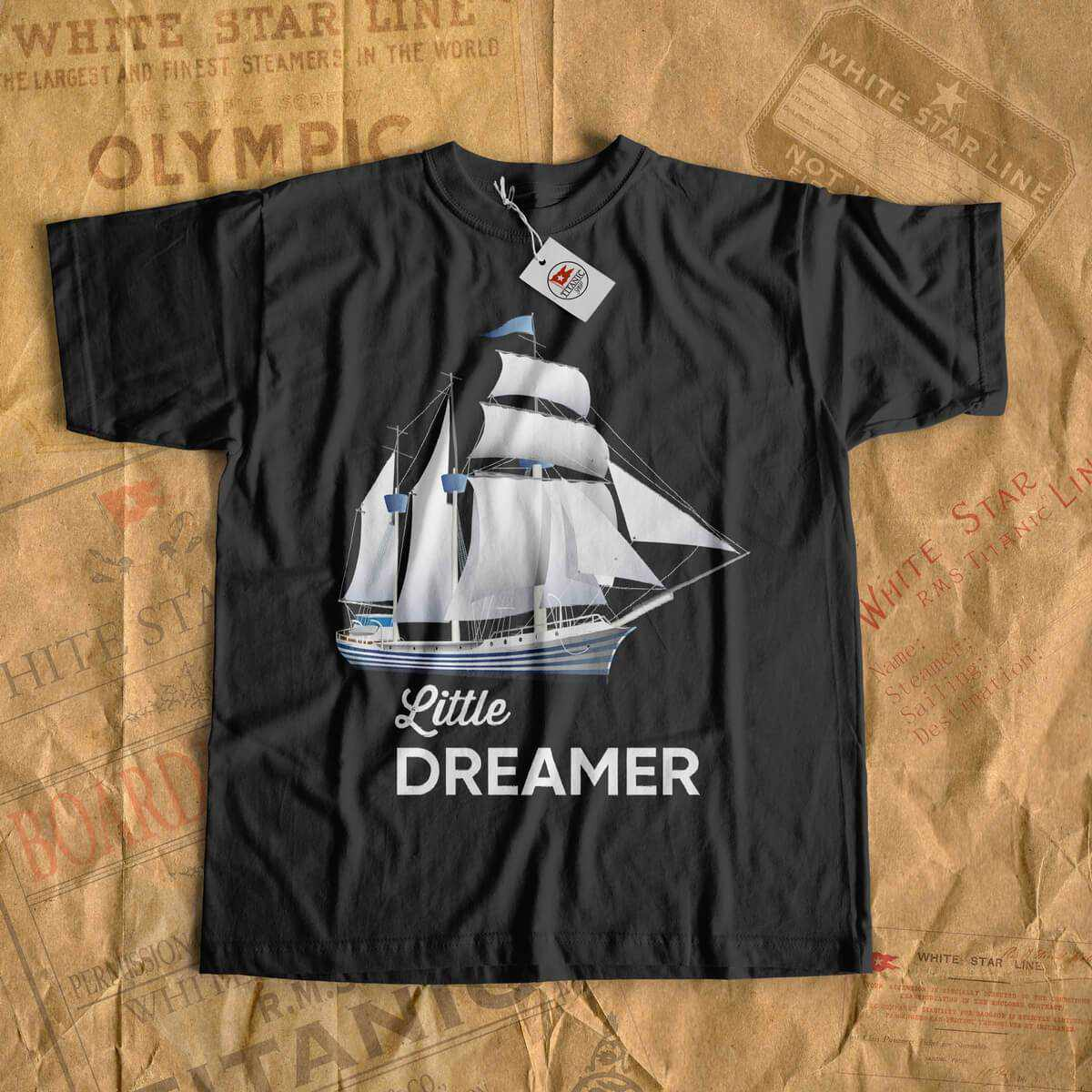 Little dreamer - romantic shirt for little boy and little girl 6 7 8 years old. Pirate ship shirt, birthday cruise tees, gift for son-T-shirt new-Printify-cruise-sea-ocean-nautical-tee-shirt-tshirt-Titanic shop