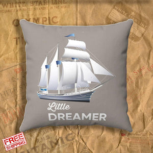 Old pirate ship throw pillow & pillow covers. Little dreamer boy name personalized pillow, gift for boy 6 7 8 - history buff-Square pillow-Titanic shop-titanic-square-body-pillow-Titanic shop