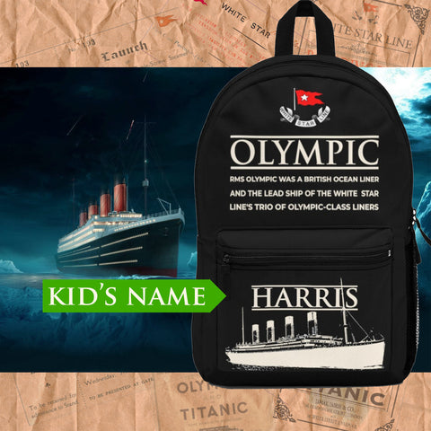 R.M.S Olympic custom name backpack, personalized backpack - reusable Olympic gift