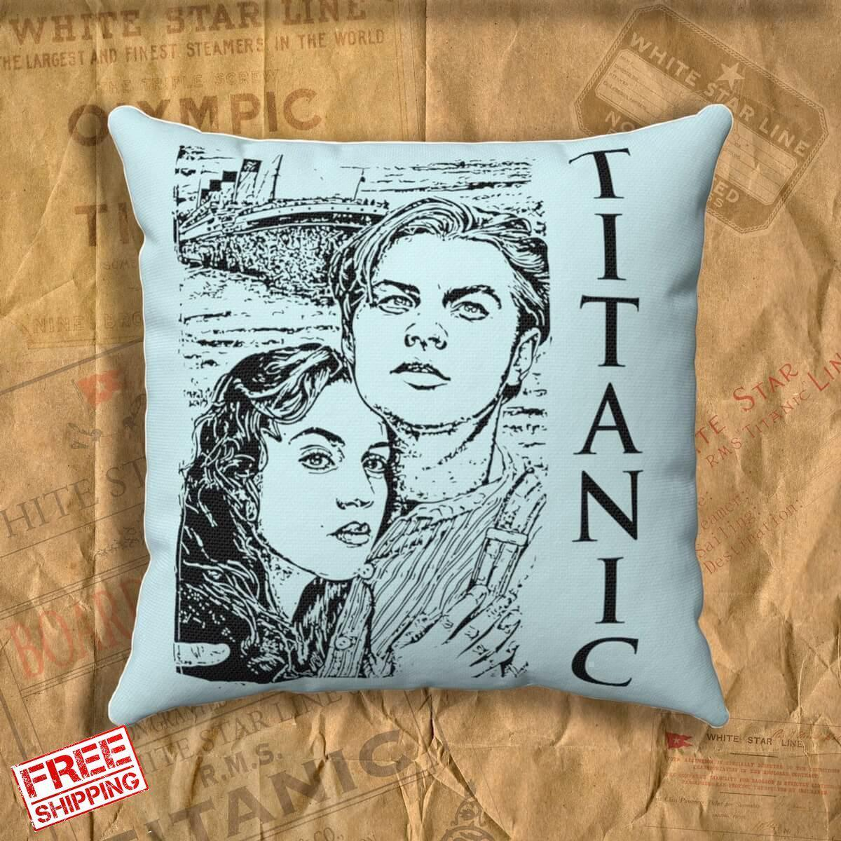 Pastel throw pillow with Jack and Rose design, movie style throw pillow covers. Spun Polyester Square Pillow, gift for boy-Square pillow-Titanic shop-titanic-square-body-pillow-Titanic shop
