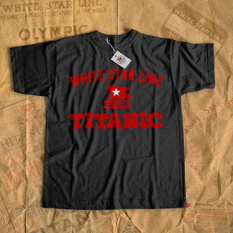 Red flag white star design t shirt, Titanic white star line rare vintage shirt, gift for boy history buff-T-shirt new-Printify-cruise-sea-ocean-nautical-tee-shirt-tshirt-Titanic shop