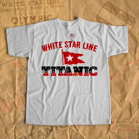 Retro Titanic white star shirt, men's cotton crew tee, gift for R.M.S Titanic lover-T-shirt new-Printify-cruise-sea-ocean-nautical-tee-shirt-tshirt-Titanic shop