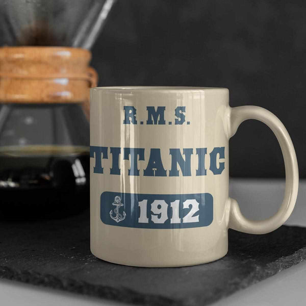 RMS Titanic 1912 mug, blue print with anchor - birthday boy water bottle, personalized gift. Gift for son & nephew, eco friendly tumbler-Mug-Titanic shop-latte-mug-water-bottle-tumbler-can-holder-Titanic shop