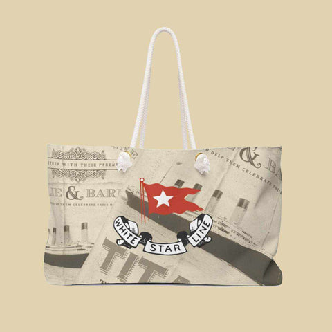 RMS Titanic weekender bag with white star flag, vintage beach bag, personalized bag for travel-Weekender bag-Printify-titanic-school-tote-bag-backpack-duffel-drawstring-white-star-line-Titanic shop