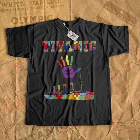 Sea autism awareness shirt kids, Titanic fan gift - RMS Titanic lover tees. Autism tumbler tshirt with old cruise liner-T-shirt new-Titanic shop-autism-awareness-Titanic-Titanic shop