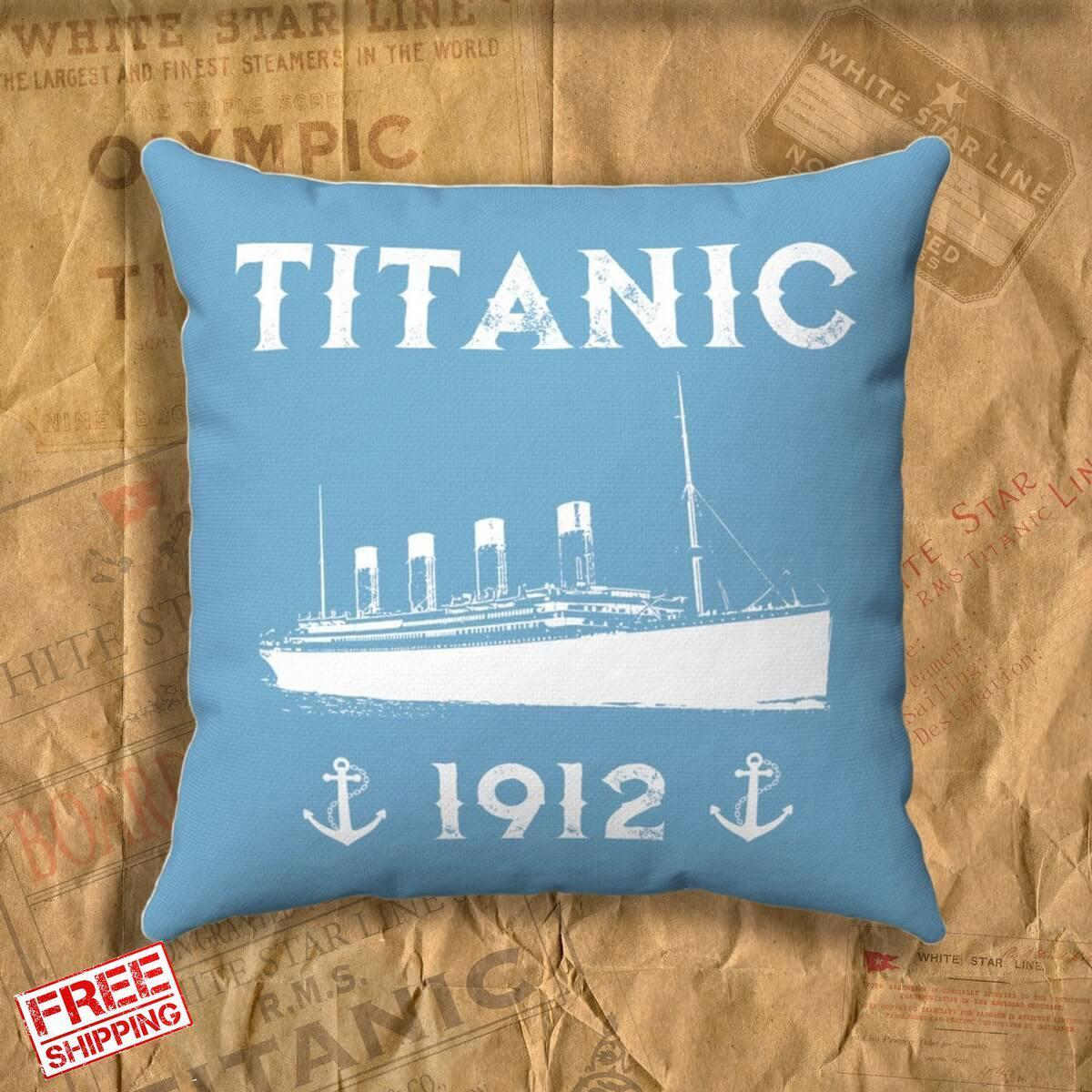 Titanic 1912 throw pillow, pillow cover - for boy 6 7 8 Plush pillow - blue memory pillow, gift for history buff-Square pillow-Titanic shop-titanic-square-body-pillow-Titanic shop