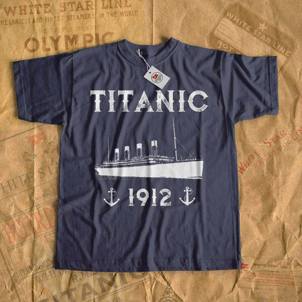 Titanic 1912 with anchors shirt, Vintage t-shirt for her and for him, tee shirt for boyfriend and girlfriend-T-shirt new-Titanic shop-titanic-tee-shirt-tshirt-1912-Titanic shop