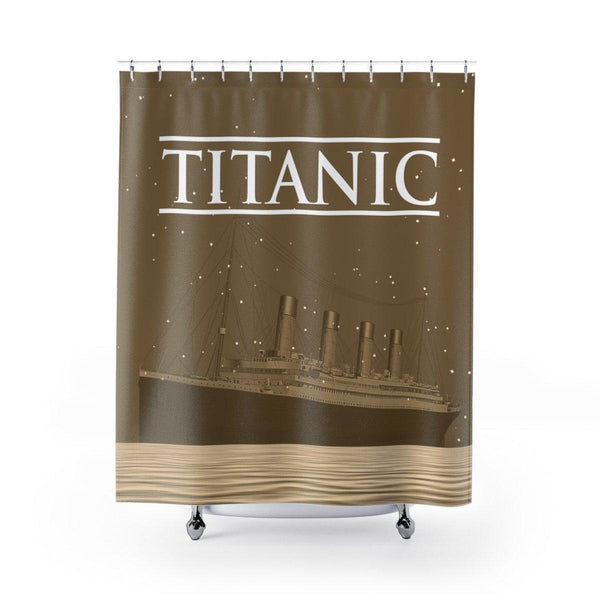 Titanic bathroom curtains, long shower curtain - gift for kids, Titanic fanatic boy present-Bathroom curtains-Printify-titanic-big-ship-cruise-boy-gift-Titanic shop
