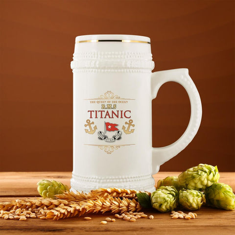 Titanic Beer Mug, White Star Line Beer Mug, Personalized Beer Stein, Beer Lover Gift, Ceramic Beer Mug
