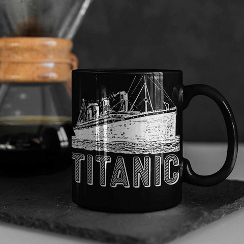 Titanic birthday party mug, black water bottle with Titanic art, adventure time can holder, gift for boys, gift for man-Mug-Titanic shop-latte-mug-water-bottle-tumbler-can-holder-Titanic shop