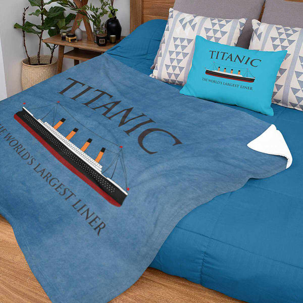 Titanic blanket, Titanic the world's largest liner, blue fleece blanket, 3 sizes available. Gift for boy 6 7 8 years old-Blankets-Printify-titanic-blanket-comforter-duvet-cover-Titanic shop