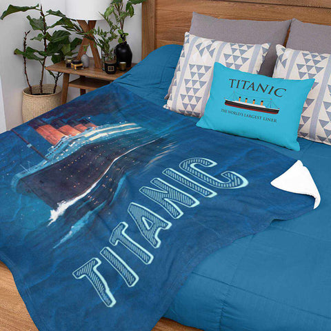 Titanic Sherpa Fleece Blanket - custom baby blanket boy, weighted blanket child, custom baby name gift-Fleese blanket-Printify-titanic-blanket-comforter-duvet-cover-Titanic shop