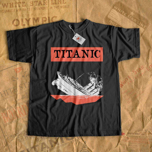Titanic t shirt, Vintage tee shirt with white Titanic design, gift for her, gift for him, family adventure shirt-T-shirt new-Titanic shop-titanic-tee-shirt-tshirt-1912-Titanic shop