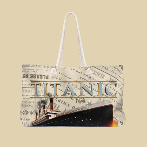 Titanic vintage beach bag, retro gift for women & youth, beach accessory bag-Weekender bag-Printify-titanic-school-tote-bag-backpack-duffel-drawstring-white-star-line-Titanic shop
