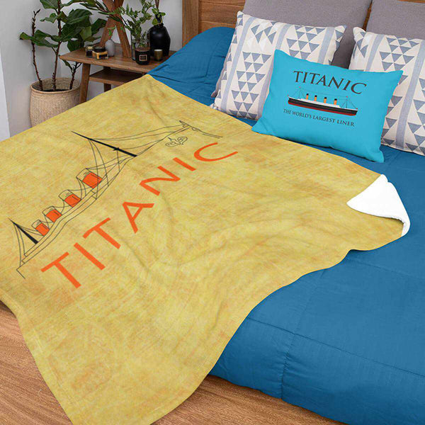 Titanic yellow throw blanket, personalized baby boy blanket - custom baby name gift for girl-Blankets-Printify-titanic-blanket-comforter-duvet-cover-Titanic shop