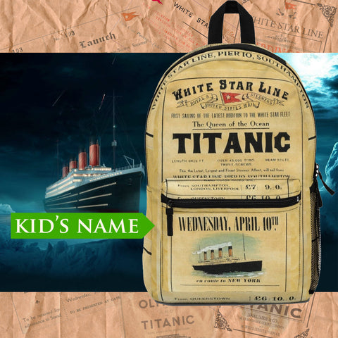 White Star Line Titanic backpack custom name, personalized backpack - reusable Titanic gift