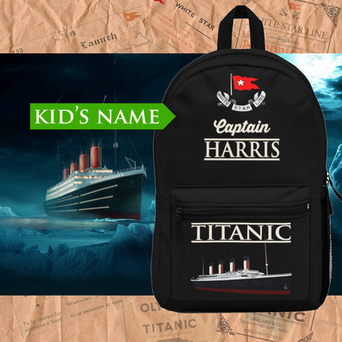 RMS Titanic custom name backpack, personalized backpack - reusable Titanic gift
