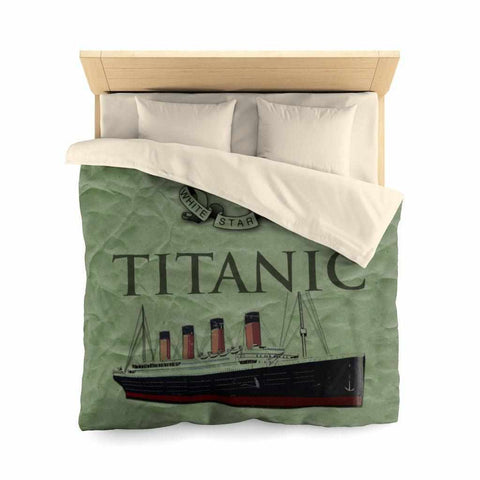 Vintage green microfiber duvet cover - organic comforter for boy history buff. Birthday kids gift 6 7 8-Home Decor-Printify-titanic-blanket-comforter-duvet-cover-Titanic shop