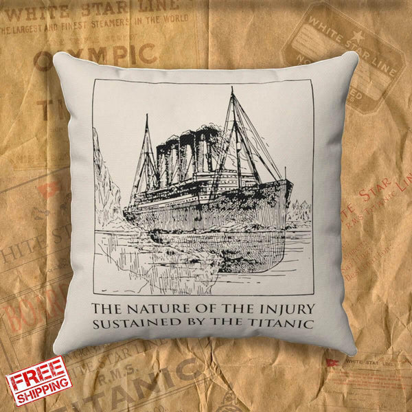 Vintage Titanic pillow covers, throw pillow for history buff. Gift for boy 7 8 9 years old, personalized pillow, memory pillow-Square pillow-Titanic shop-titanic-square-body-pillow-Titanic shop