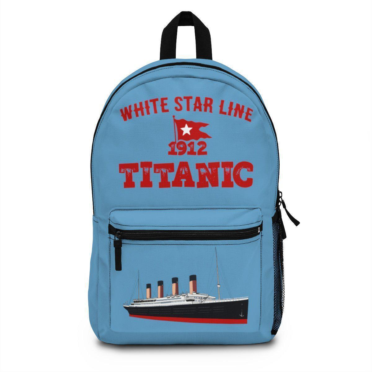 Vintage wanderlust backpack, Titanic backpack for pupil, first day of school bag-School backpack-Printify-titanic-school-tote-bag-backpack-duffel-drawstring-white-star-line-Titanic shop