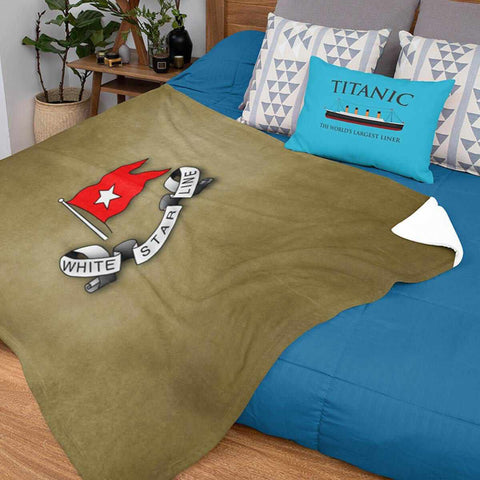 White Star Line vintage blanket, fleece blanket for baby boy, personalized blanket-Blankets-Printify-titanic-blanket-comforter-duvet-cover-Titanic shop