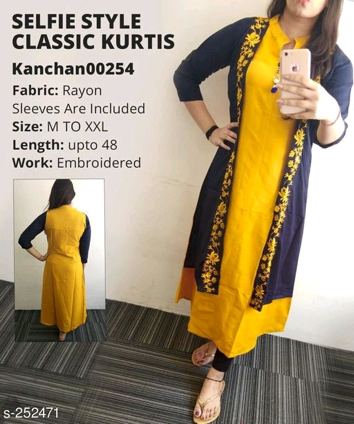 Blue and Yellow Designer Kurti