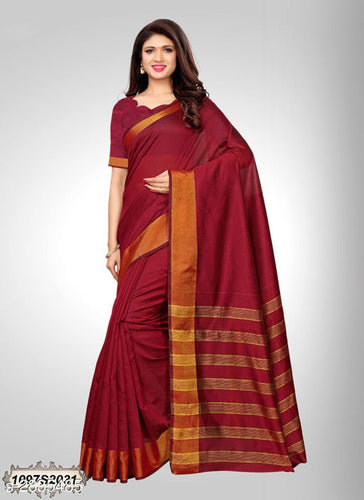 Maroon Red Chanderi Saree