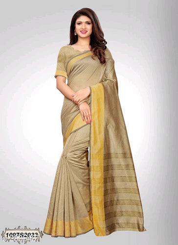 Flaxen Colored Chanderi Silk Saree