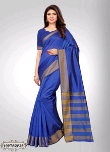 Dark Blue Chanderi Silk Saree