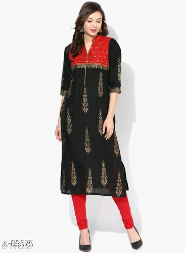 Red and Black Trendy Cotton Kurti
