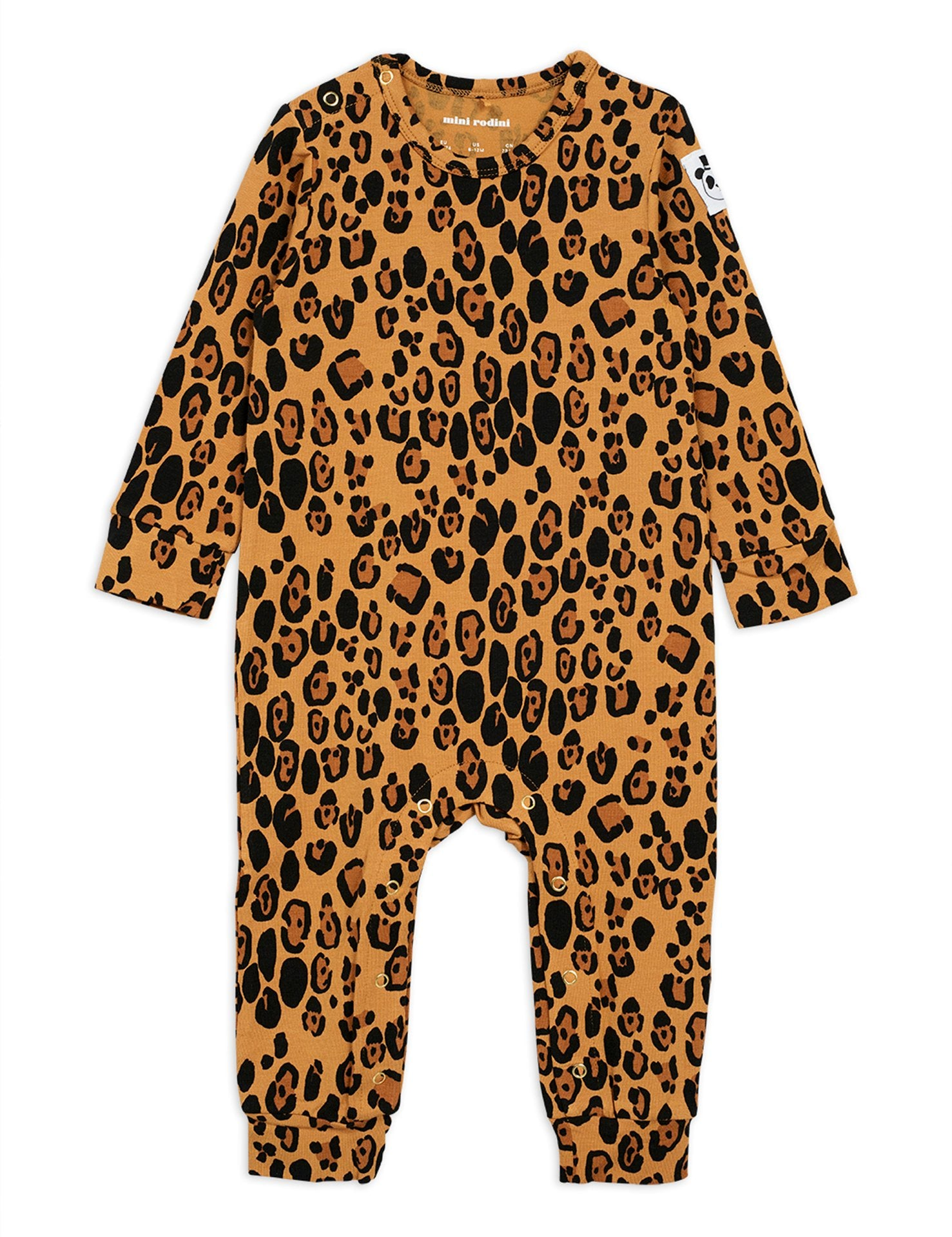Mini Rodini Organic Cotton Basic Leopard Jumpsuit Beige