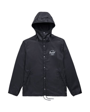 Herschel Supply Rainwear Hooded Coach Jacket  Black / White Logo