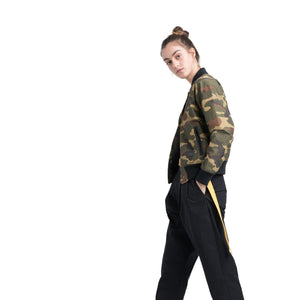 Herschel Supply Women's Varsity Jacket - Woodland Camo / Black