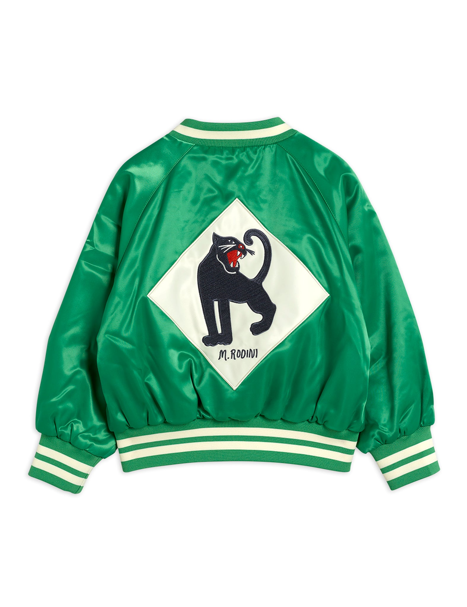 Mini Rodini Recycled Polyester Panther Baseball Jacket Green