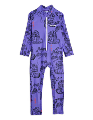 Mini Rodini Recycled Polyester Tigers UV Suit Purple