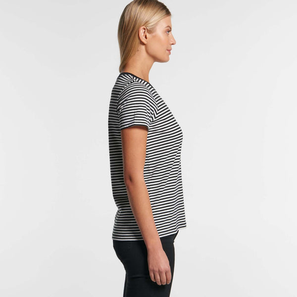 AS Colour Womens BOWERY STRIPE TEE - Black/Natural and Natural/Mid Blue