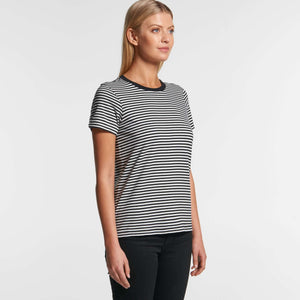 AS Colour Womens BOWERY STRIPE TEE - Black/Natural