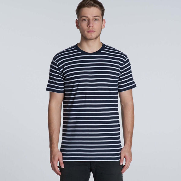 AS Colour STAPLE STRIPE TEE - Black/White and Navy/White