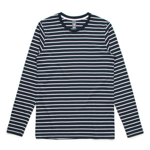 AS Colour MATCH STRIPE L/S TEE - Navy/White