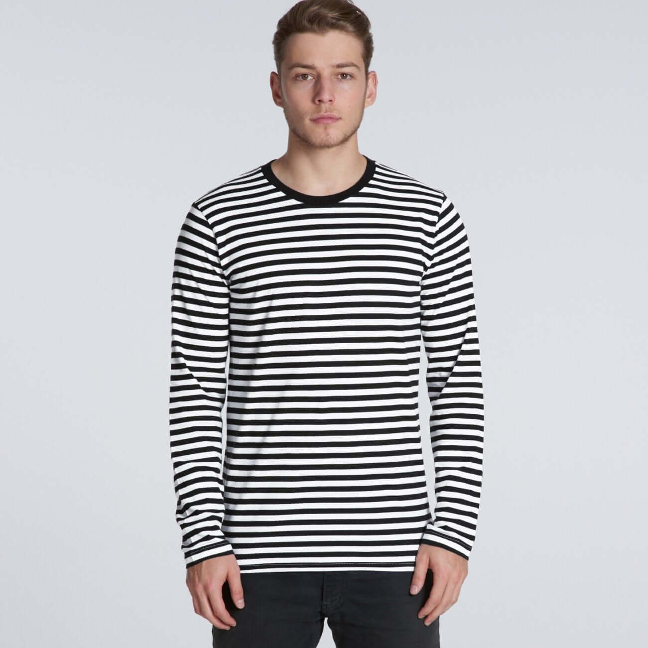 AS Colour MATCH STRIPE L/S TEE - Black/White