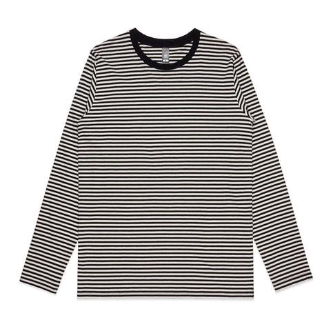 AS Colour BOWERY STRIPE LONG SLEEVE TEE - Natural/Black