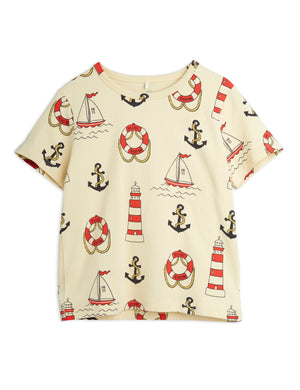 Mini Rodini Organic Cotton Lighthouse All Over Print Short Sleeve Tee Yellow