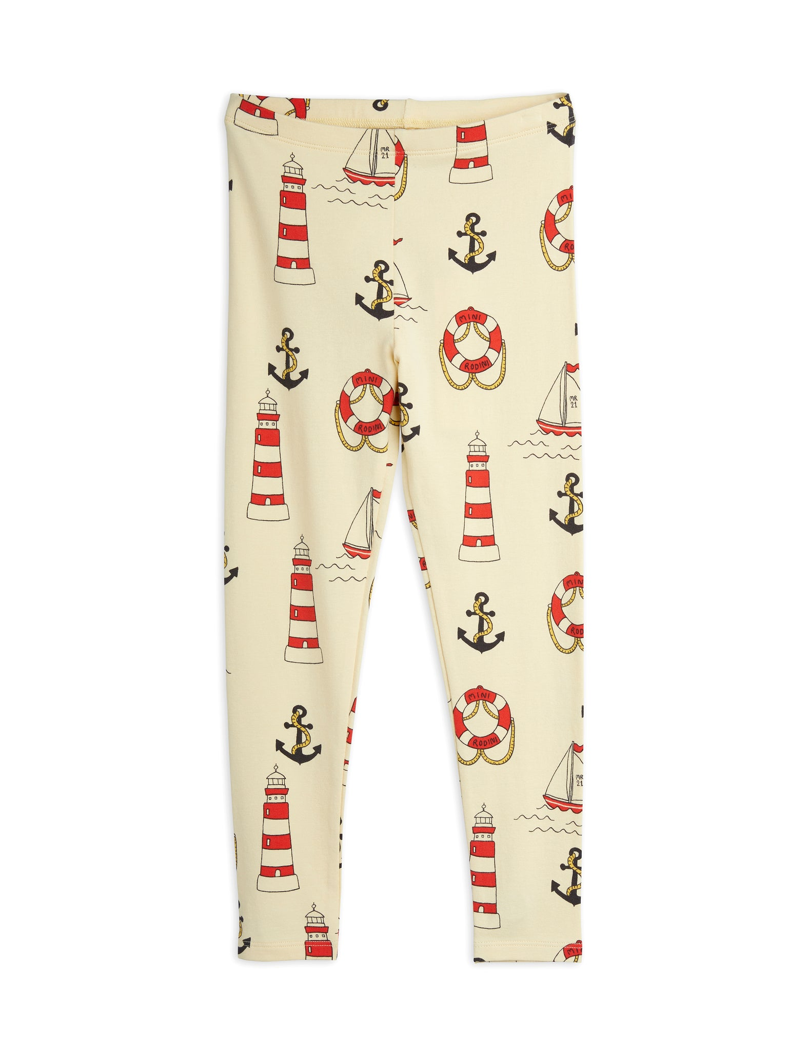 Mini Rodini Organic Cotton Lighthouse All Over Print Leggings Yellow