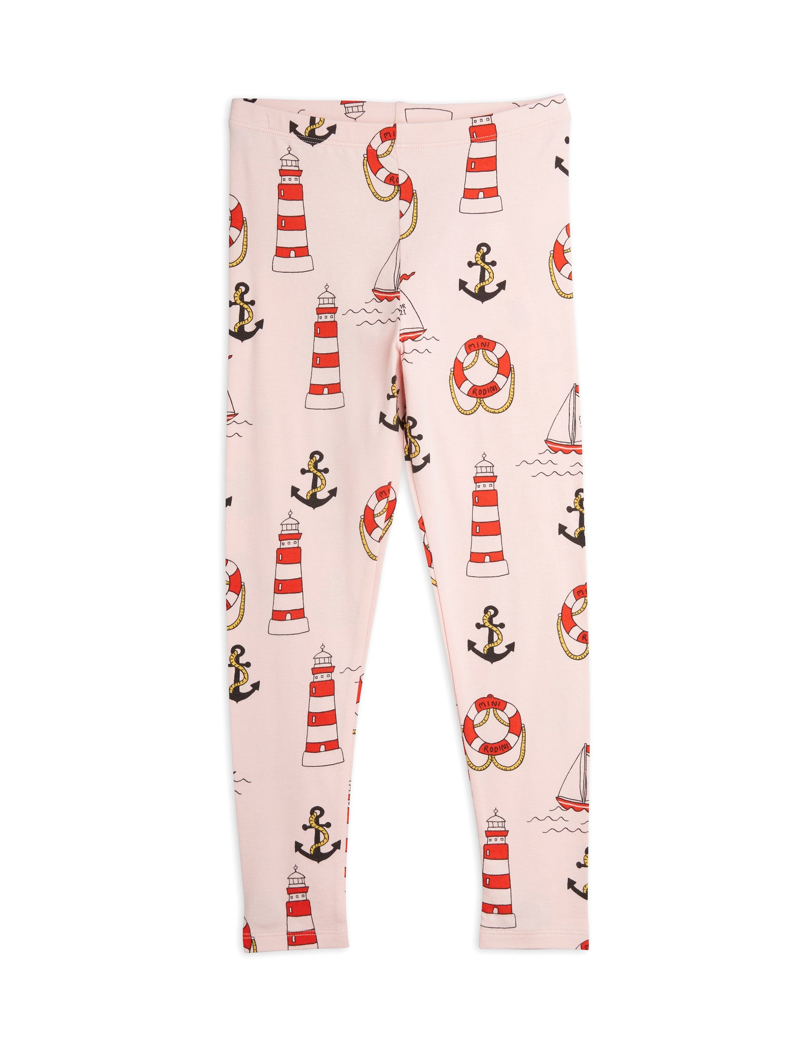Mini Rodini Organic Cotton Lighthouse All Over Print Leggings Pink