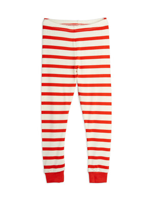 Mini Rodini Organic Cotton Stripe Rib Leggings Red